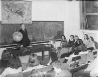 Classroom with Globe, ca 1949