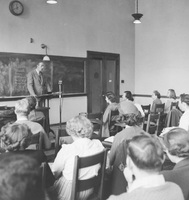 Professor Bennett Weaver Lectures at U-M for WUOM December, 1949